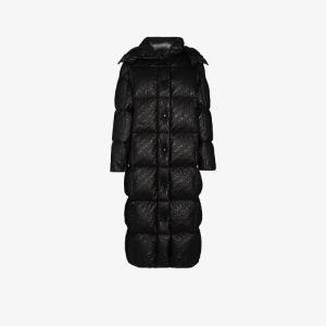 Moncler Womens Black Parnaiba Logo Puffer Coat