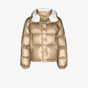 Moncler Womens Neutrals Metallic Hooded Puffer Jacket