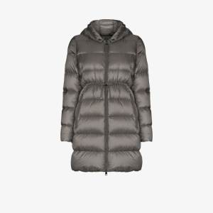 Moncler Womens Grey Bannec Long Puffer Jacket