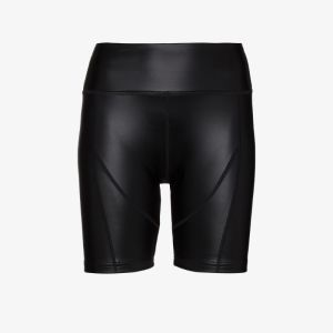 Danielle Guizio Womens Black Faux Leather Cycling Shorts