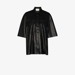 Nanushka Womens Black Roque Faux Leather Shirt