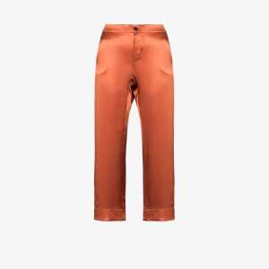 Asceno Womens Orange Antibes Cropped Pyjama Bottoms