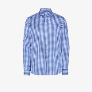 Canali Mens Blue Gingham-print Shirt