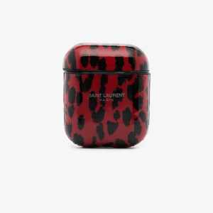 Saint Laurent Womens Red And Black Leopard Print Airpods Case