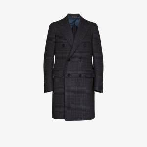Canali Mens Black Double-breasted Checked Wool Coat