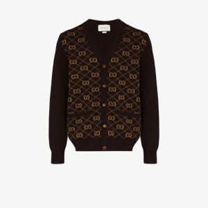 Gucci Mens Brown Gg Embroidered Knitted Cardigan