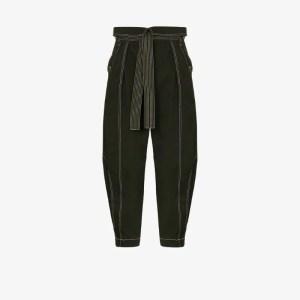 Ulla Johnson Womens Green Rowen Tie Waist Trousers