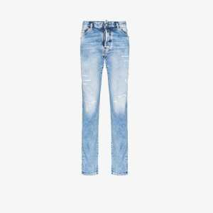 Dsquared2 Mens Blue Distressed Straight Leg Jeans