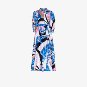 Emilio Pucci Womens Blue Wally Print Cotton Shirt Dress