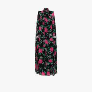 Richard Quinn Womens Black Floral Print Cape Back Gown
