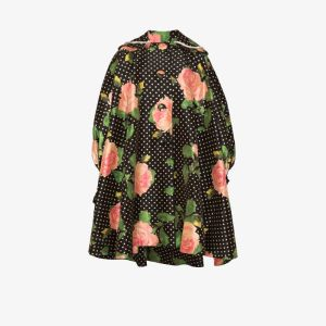 Richard Quinn Womens Multicolour Oversized Floral Polka-dot Print Coat