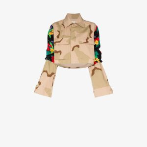 Rentrayage Womens Brown Panelled Camouflage-print Jacket