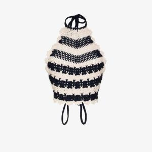 Gucci Womens Blue Crochet Knit Tank Top