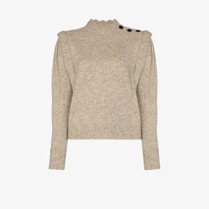 Isabel Marant étoile Womens Neutrals Meery Button Wool Sweater