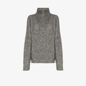 Isabel Marant étoile Womens Grey Myclan Half Zip Sweater