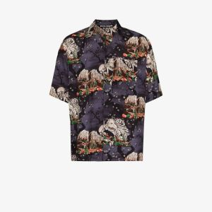 Palm Angels Mens Multicolour Skeleton Print Bowling Shirt