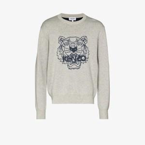 Kenzo Mens Grey Tiger Logo-print Sweatshirt