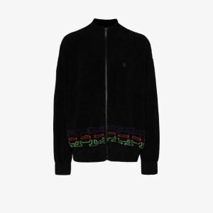 Marcelo Burlon County Of Milan Mens Black Folk Graphic Fleece Track Jacket