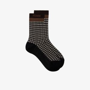 Fendi Womens Brown Jacquard Gingham Socks