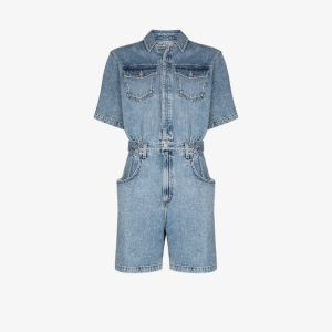 Agolde Womens Blue Button-up Denim Playsuit