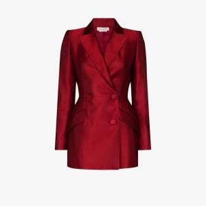 Alexander Mcqueen Womens Red Double-breasted Silk Blazer