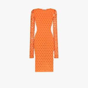 Maisie Wilen Womens Orange Perforated Midi Dress