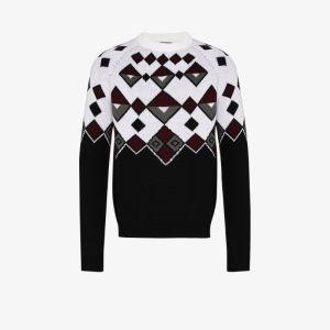 Prada Mens White Intarsia-knit Wool Jumper