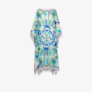 Emilio Pucci Womens Blue Printed Kaftan Dress