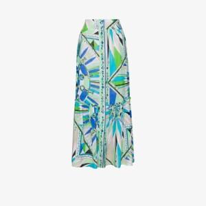 Emilio Pucci Womens Blue Bes Print Cotton Maxi Skirt