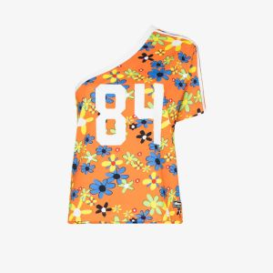 Adidas Womens Orange X Lotta Volkova Ringer One Shoulder Floral Print T-shirt