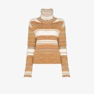 See By Chloé Womens Neutrals Turtle Neck Striped Knit Jumper