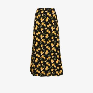 Reformation Womens Black Bea Lemon Print Midi Skirt