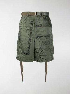 Sacai cosmic print cargo shorts