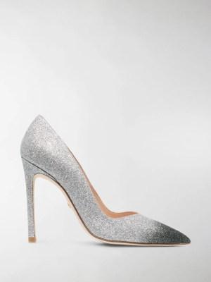 Stuart Weitzman glitter-embellished pumps