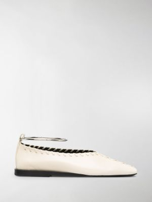 Jil Sander square-toe ballerina pumps with ankle bangle