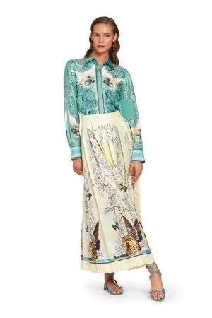 Camicia in seta con stampa Hybrid Animals
