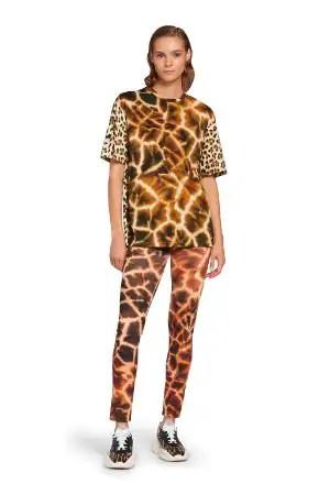 T-shirt con stampe Leopard e Giraffe