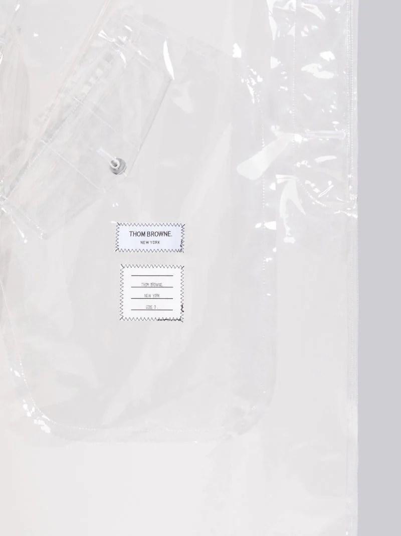 Clear Plastic Raglan Car Overcoat|Thom Browne