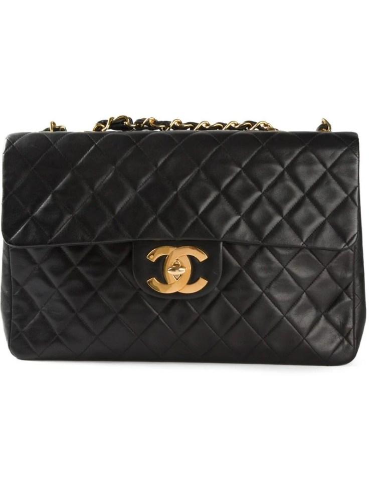 CHANEL VINTAGE black jumbo XL classic flap shoulder bag