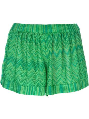 Missoni wavy knit shorts in the color of the summer parakeet green