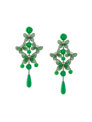 Lydia Courteille butterfly and rose diamond tear drop earrings in the color of the summer parakeet green