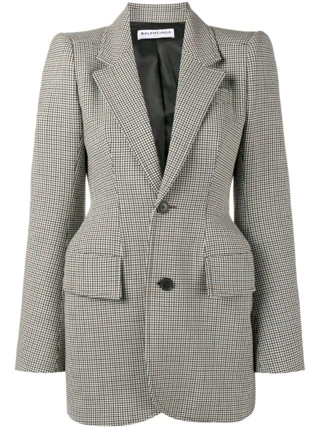 Balenciaga - Hourglass checked blazer, $2400.0