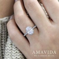 Mary 18k White Gold Oval Double Halo Engagement Ring