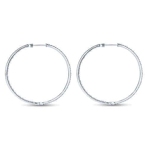 14k White Gold Contemporary Inside Out Diamond Hoop