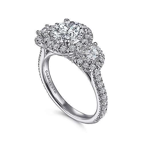 18K White Gold Round Three Stone Halo Diamond Engagement