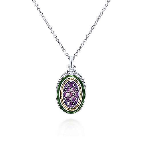 925 Silver And 18k Yellow Gold Swing Locket Necklace
