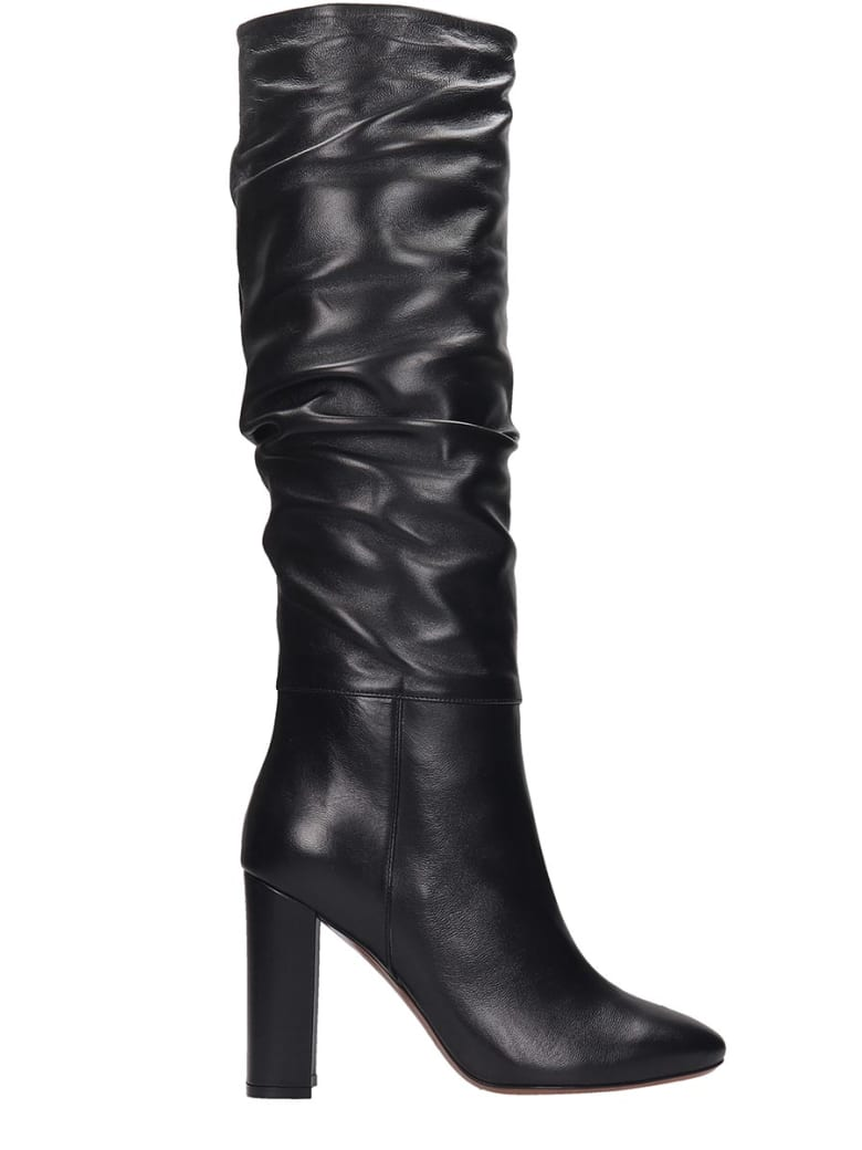 Long black chunky heel boots