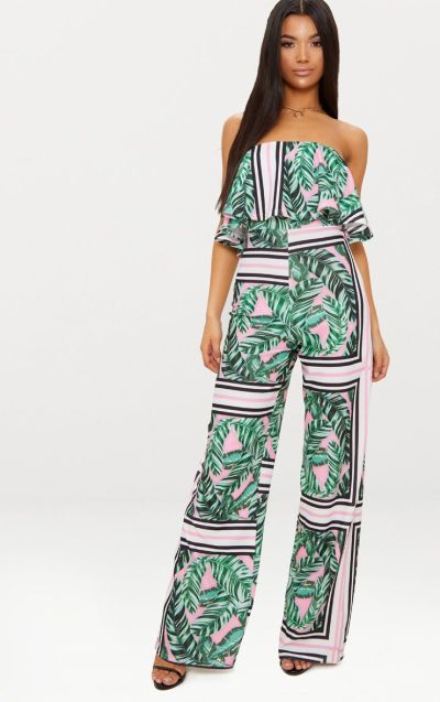 Palm Printed Bardot Double Layer Jumpsuit