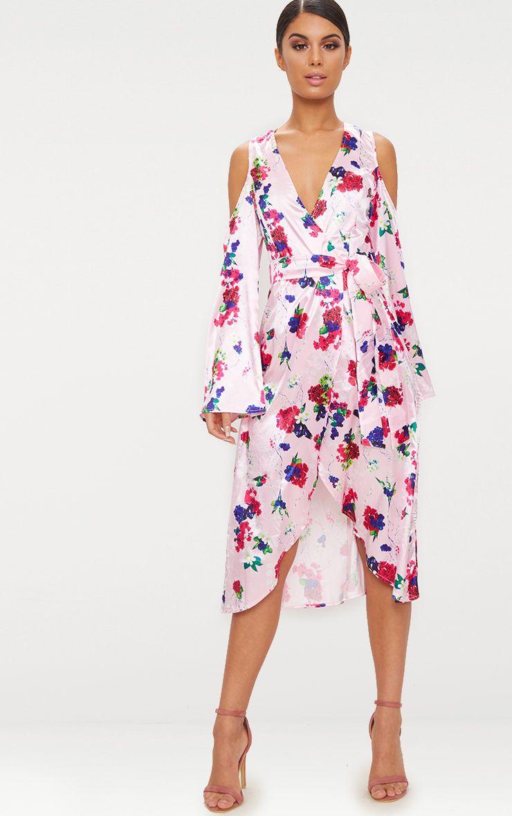 Pink Floral Satin Midi Dress
