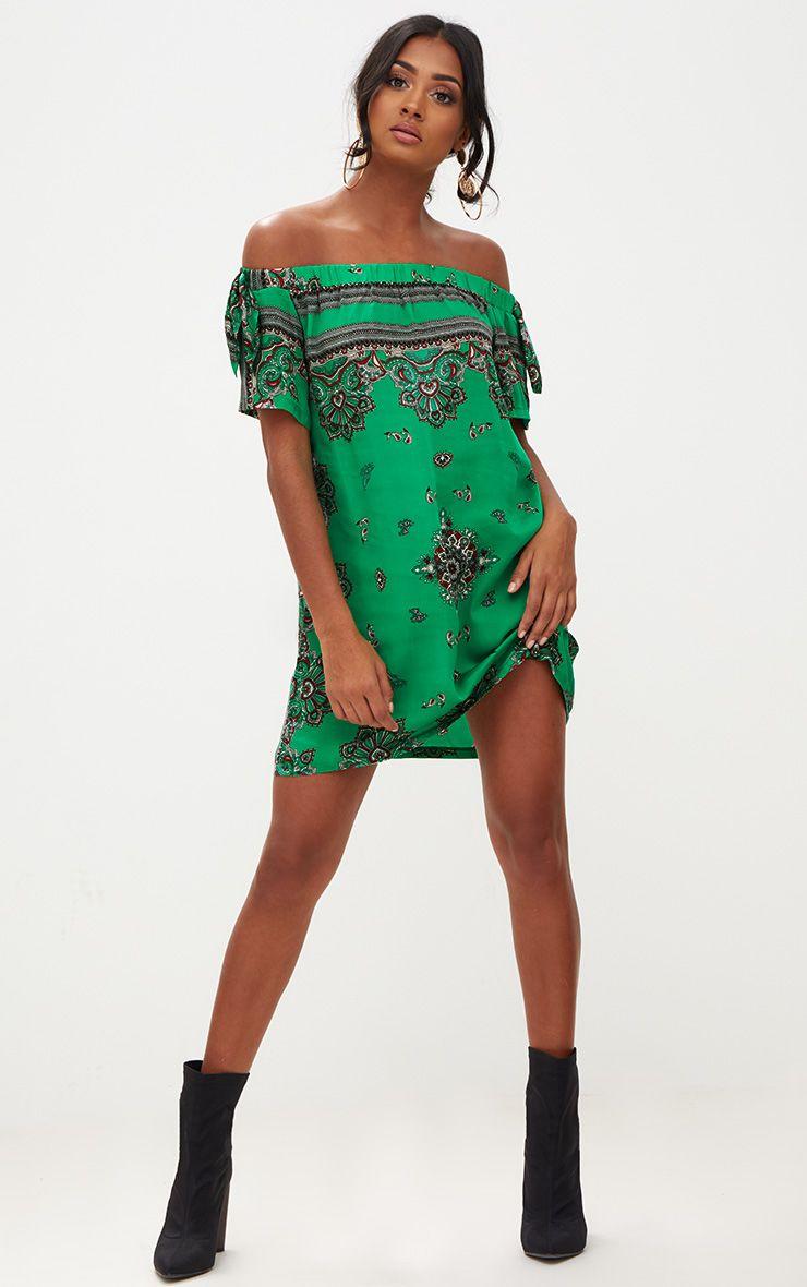 Green Paisley Bardot Swing Dress
